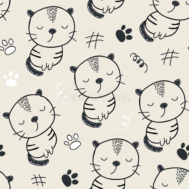 Teste padrão sem emenda com gatos bonitos ilustração do vetor para a matéria têxtil, tela ilustração stock