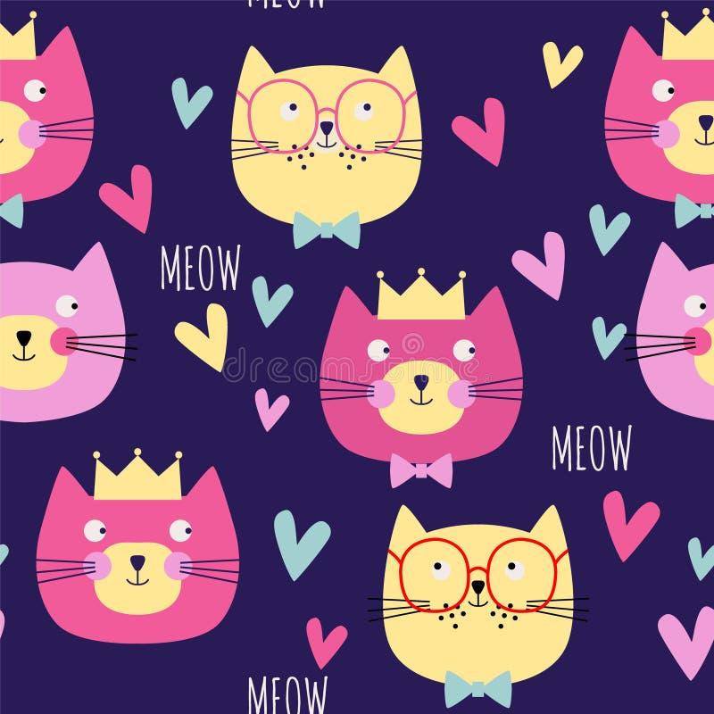Teste padrão sem emenda com gatos, corações, coroas em escuro - fundo azul Ilustra??o do vetor ilustração stock