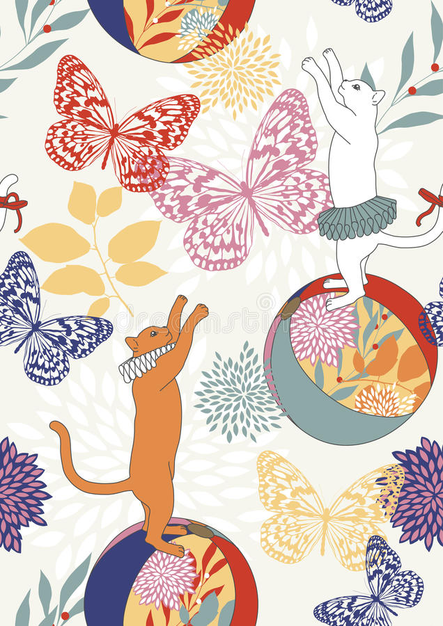 Teste padrão sem emenda com gatos e borboletas ilustração do vetor