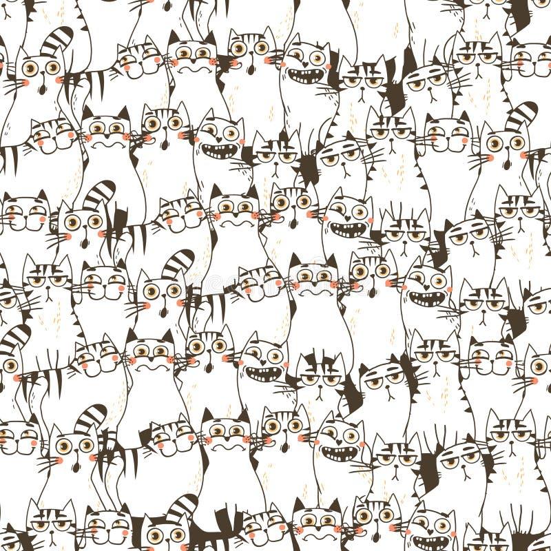 Teste padrão sem emenda com gatos engraçados ilustração stock