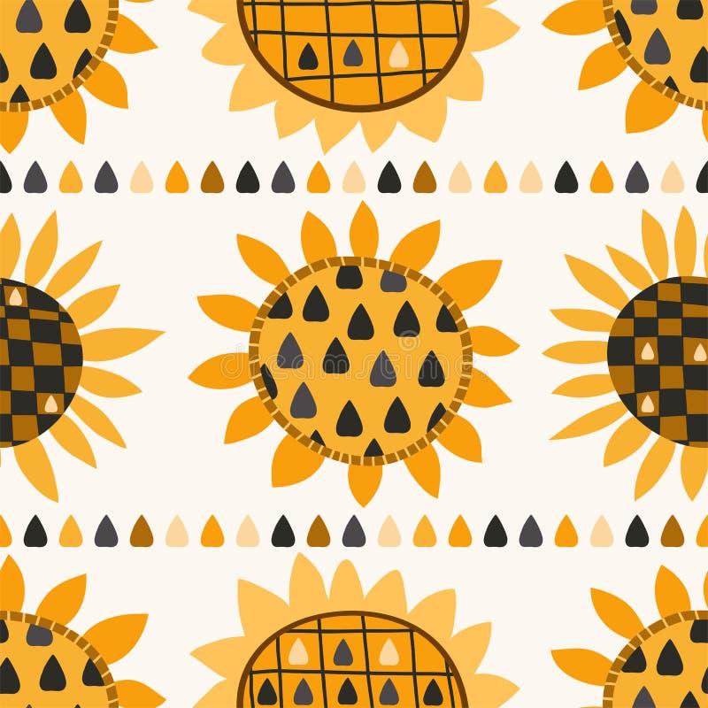 Teste padrão sem emenda com girassol e sementes ilustração stock