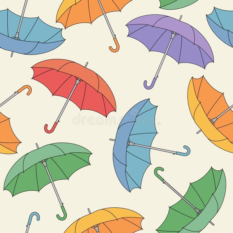 Teste padrão sem emenda com guarda-chuvas. ilustração stock