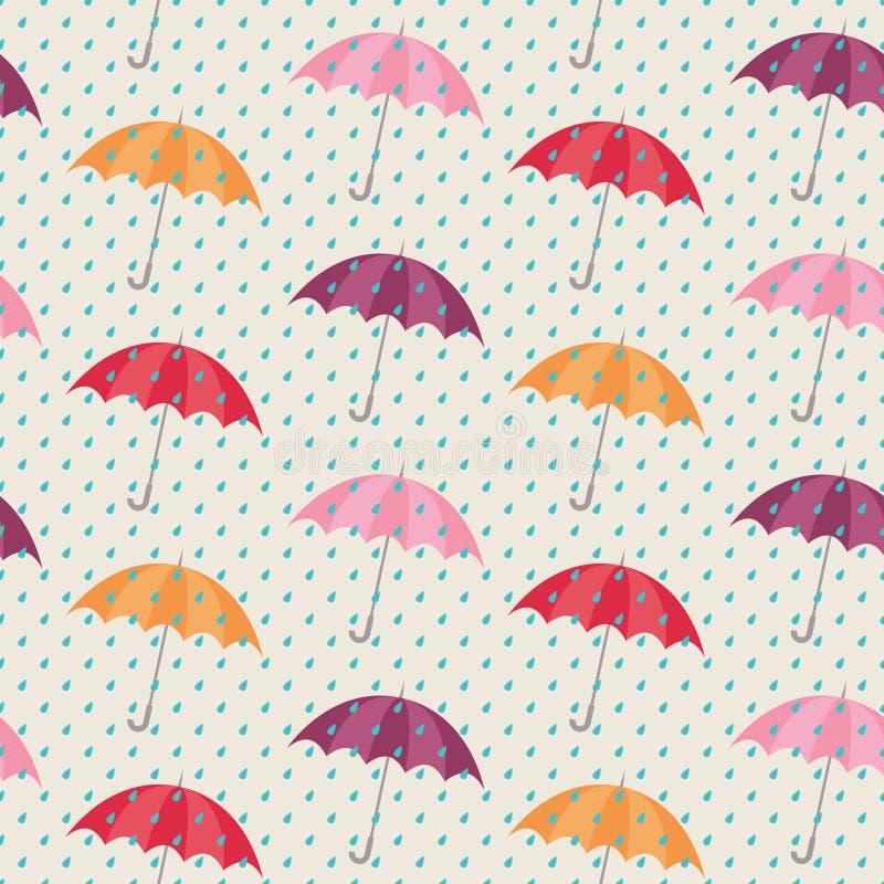Teste padrão sem emenda com guarda-chuvas ilustração do vetor