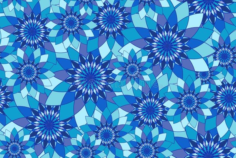 Teste padrão sem emenda com guilloche floral azul ilustração do vetor