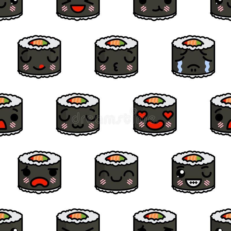 Teste padrão sem emenda com ilustração bonito dos desenhos animados do vetor do sushi do emoji do kawaii ilustração do vetor