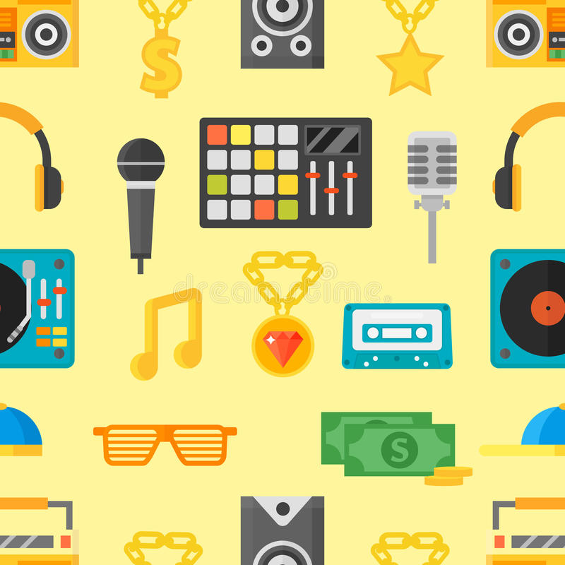 Teste padrão sem emenda com ilustração do vetor dos ícones da música ilustração do vetor
