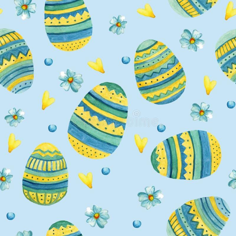 Teste padrão sem emenda com ilustrações bonitos da aquarela da Páscoa Ovos da páscoa ilustração do vetor