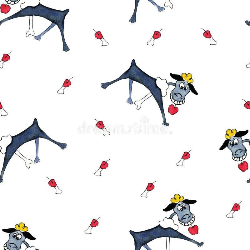 Teste padrão sem emenda com ilustrações de caniches estilizados dos desenhos animados para crianças e meninas ilustração stock