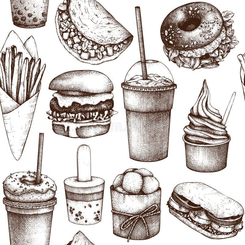 Teste padrão sem emenda com ilustrações tiradas mão do fast food Fundo do vintage para o menu do caminhão do restaurante, do café ilustração do vetor
