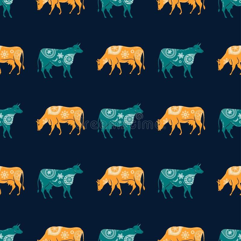 Teste padrão sem emenda com a imagem das silhuetas das vacas e das flores ilustração stock
