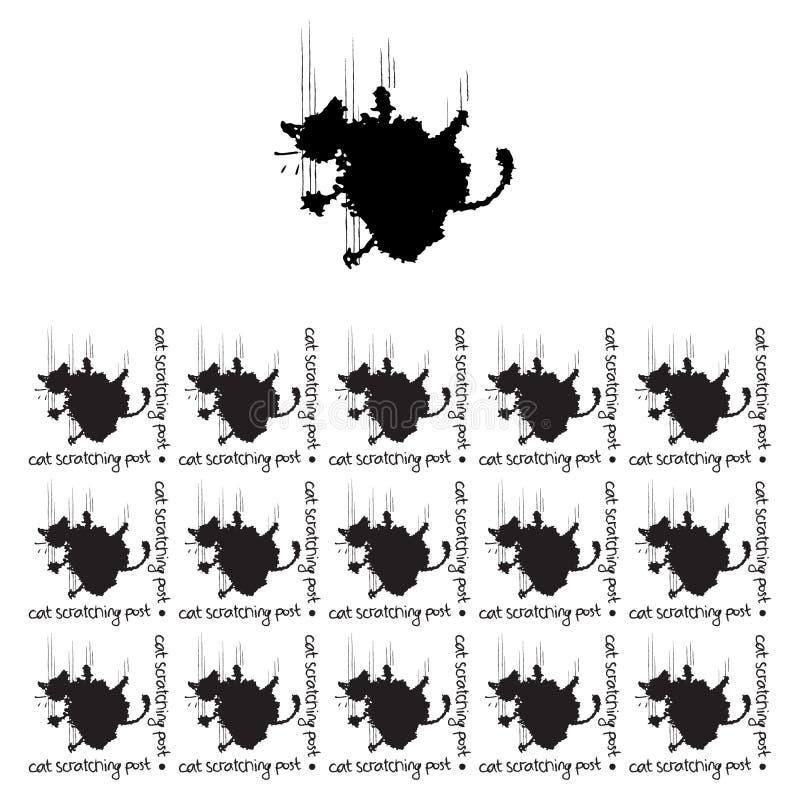 Teste padrão sem emenda com a imagem de um gato sob a forma das manchas, para o projeto de empacotamento, Web site, redes sociais ilustração stock