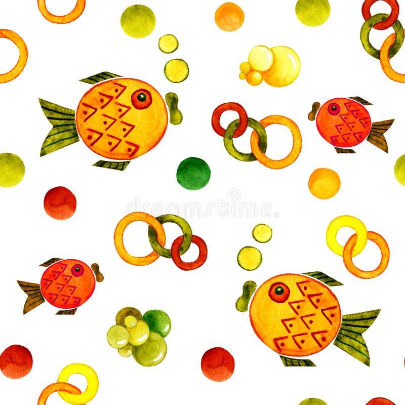 Teste padrão sem emenda com a imagem de um peixe Ilustração dos desenhos animados da aquarela para o projeto das cópias, etiqueta ilustração do vetor