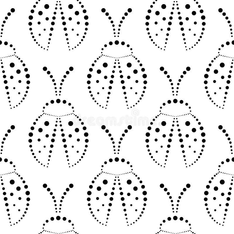 Teste padrão sem emenda com insetos, fundo preto e branco simétrico do vetor com os joaninhas decorativos do close up, no backd b ilustração stock