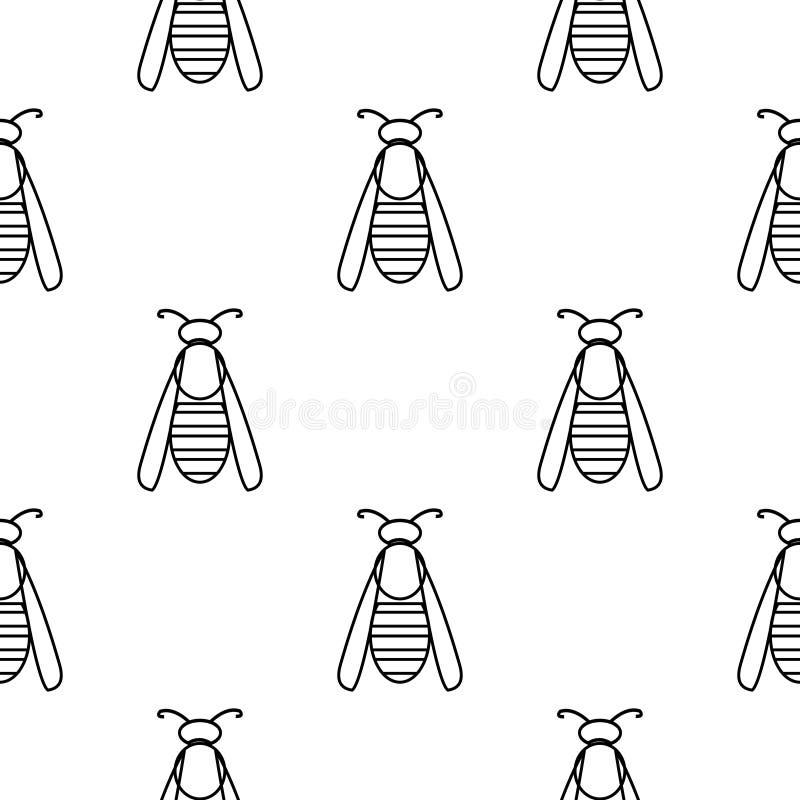 Teste padrão sem emenda com insetos, fundo preto e branco simétrico do vetor com vespas ilustração royalty free