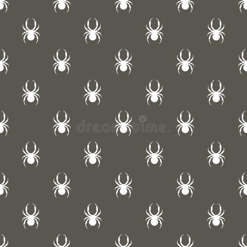 Teste padrão sem emenda com insetos, fundo simétrico do vetor com aranhas brancas, sobre o contexto cinzento escuro ilustração do vetor