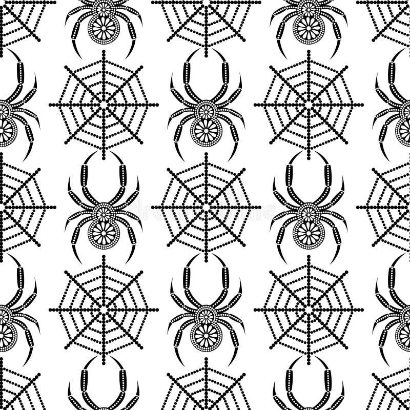 Teste padrão sem emenda com insetos, fundo simétrico do vetor com as aranhas pretas decorativas do close up, sobre o contexto bra ilustração royalty free