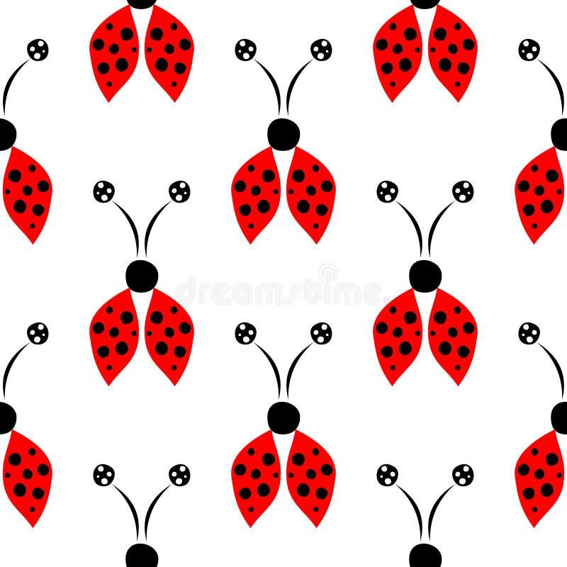 Teste padrão sem emenda com insetos, fundo simétrico do vetor com mão vermelha os joaninhas decorativos tirados no contexto branc ilustração do vetor