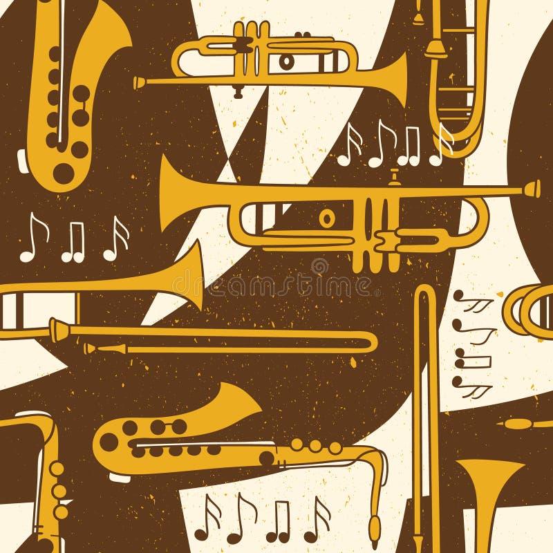 Teste padrão sem emenda com instrumentos musicais ilustração royalty free