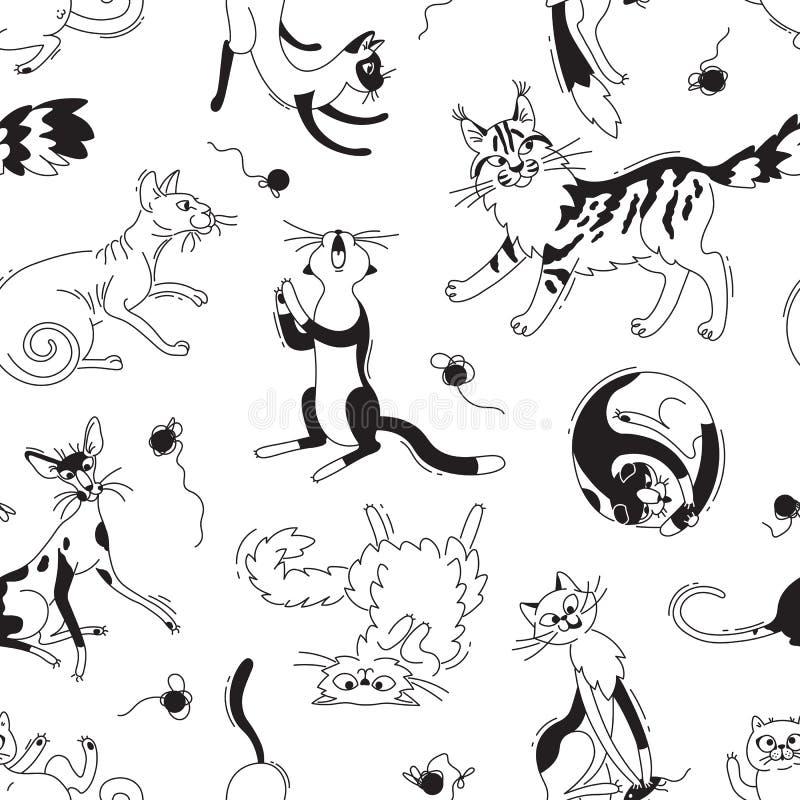 Teste padrão sem emenda com jogo de gatos de raças e de skeins diferentes do fio Gato nos desenhos animados da garatuja do estilo ilustração royalty free