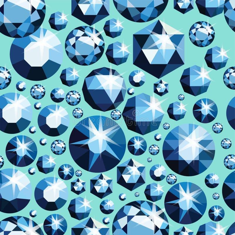 Teste padrão sem emenda com joias diferentes Fundo sem emenda de pedras preciosas Projeto do diamante Ilustração do vetor ilustração stock