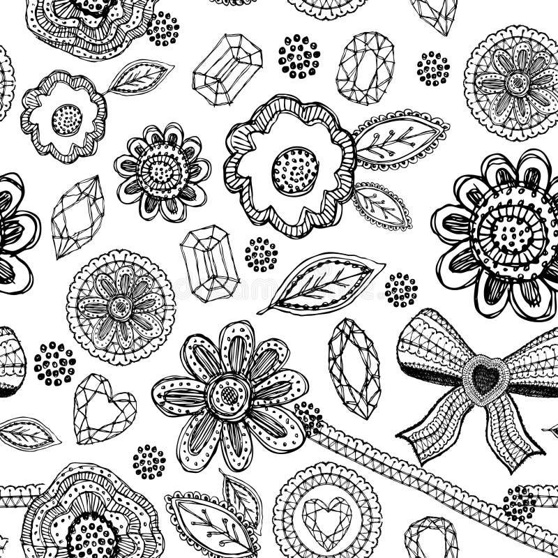 Teste padrão sem emenda com laço, diamantes, flores, folhas Garatuja, esboço ilustração do vetor