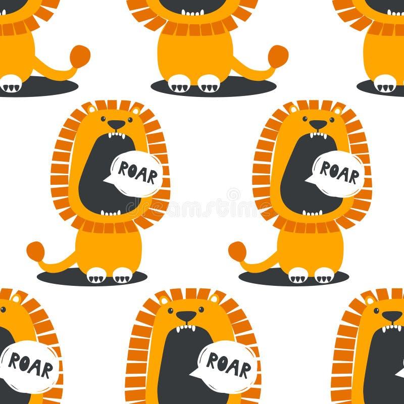 Teste padrão sem emenda com leões ilustração stock