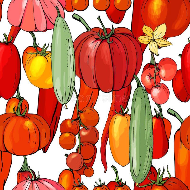 Teste padrão sem emenda com legumes frescos ilustração stock