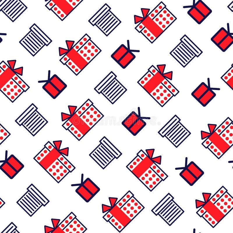Teste padrão sem emenda com linha ícones do estilo dos presentes Fundo para cartão da celebração do projeto ilustração do vetor