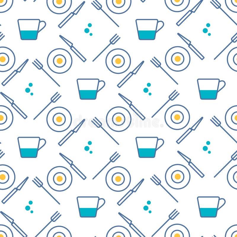 Teste padrão sem emenda com linha estilo dos ícones do alimento Pictograma do restaurante, cozinha, casa Elementos simples dos pr ilustração royalty free