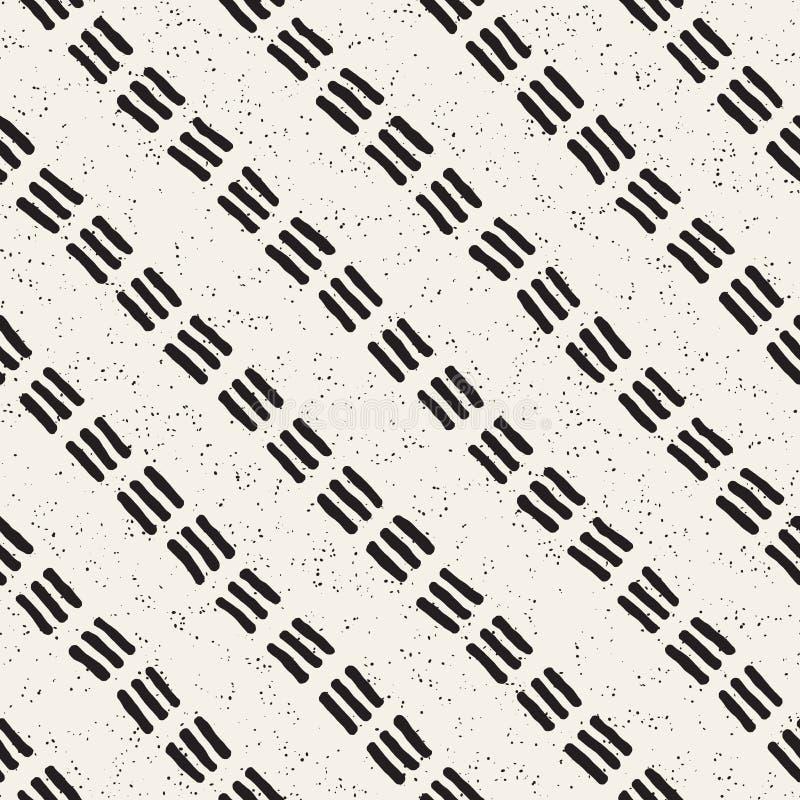 Teste padrão sem emenda com linhas tiradas mão Fundo abstrato com cursos a mão livre da escova Textura preto e branco ilustração do vetor