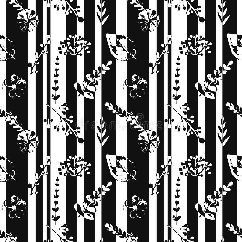 Teste padrão sem emenda com listras abstratas, flores, plantas em cores preto e branco ilustração royalty free