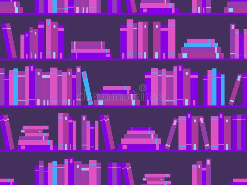 Teste padrão sem emenda com livros, estante da biblioteca cor roxa Synthwave, onda retro nova no estilo 80s Vetor ilustração stock