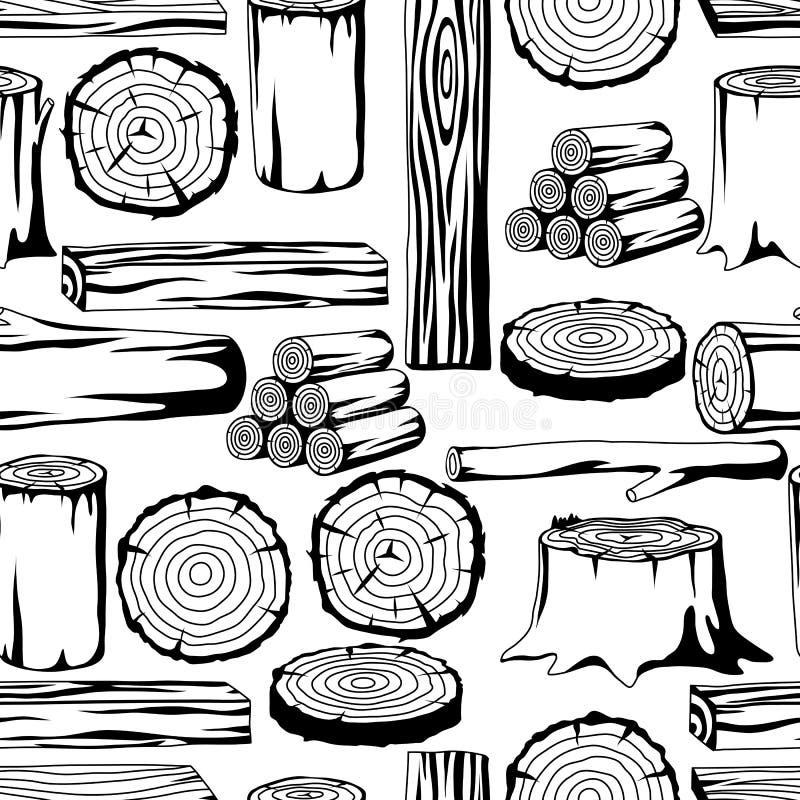 Teste padrão sem emenda com logs, os troncos e as pranchas de madeira Fundo para a silvicultura e a indústria da madeira serrada ilustração stock