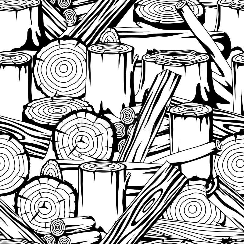 Teste padrão sem emenda com logs, os troncos e as pranchas de madeira Fundo para a silvicultura e a indústria da madeira serrada ilustração do vetor