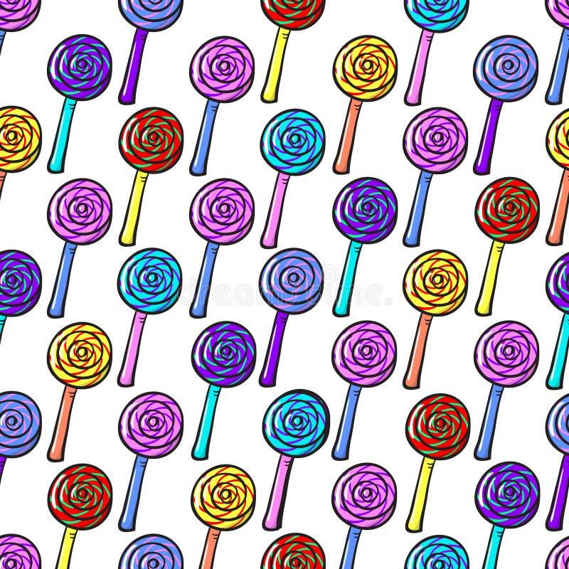 Teste padrão sem emenda com Lollypops ilustração royalty free
