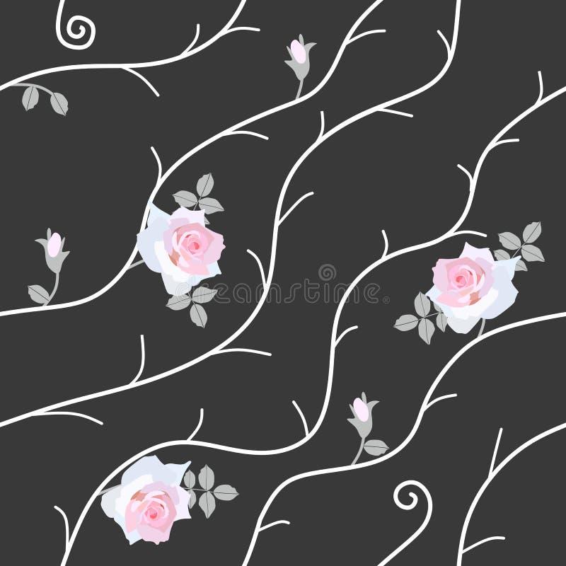 Teste padrão sem emenda com luz delicada - rosas cor-de-rosa, botões pequenos e ramos brancos abstratos isolados no fundo preto n ilustração do vetor