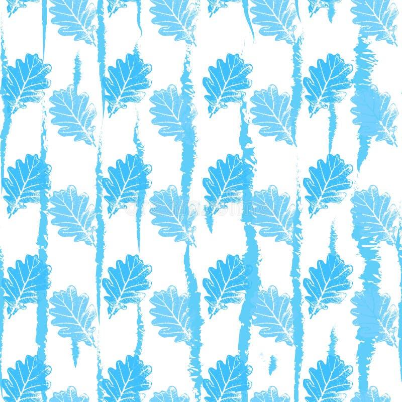 Teste padrão sem emenda com luz laçado do contorno - o azul deixa árvores em um fundo branco ilustração stock