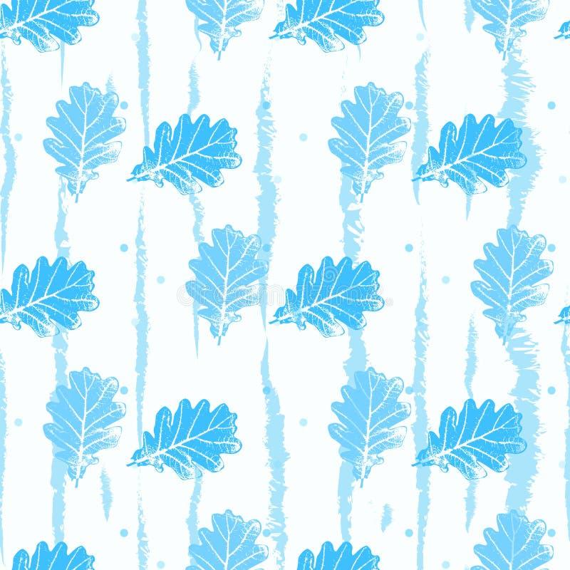 Teste padrão sem emenda com luz laçado do contorno - o azul deixa árvores em um fundo branco ilustração do vetor