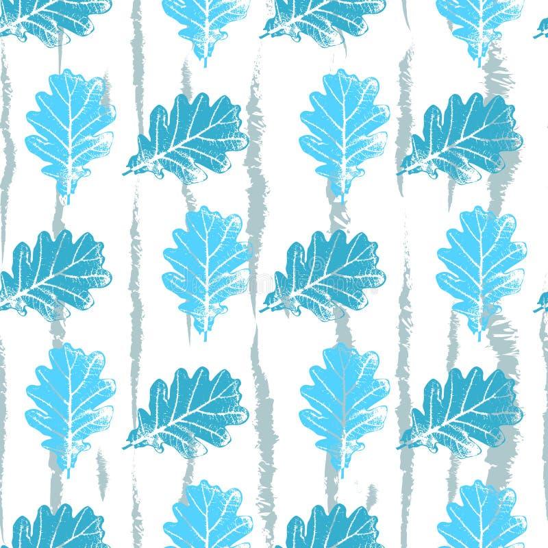 Teste padrão sem emenda com luz laçado do contorno - o azul deixa árvores em um fundo branco eps 10 ilustração stock