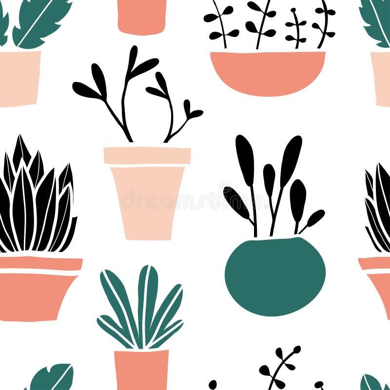 Teste padrão sem emenda com mão bonito os potenciômetros de flor tirados ilustração royalty free