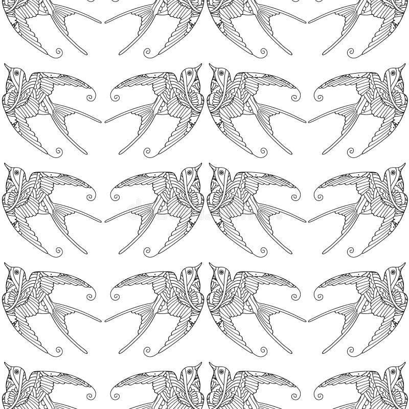 Teste padrão sem emenda com a mão decorativa do voo do pássaro da andorinha tirada ilustração stock