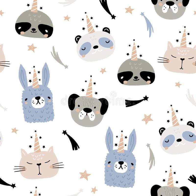 Teste padrão sem emenda com mão engraçada os animais tirados do unicórnio Textura criançola criativa Grande para a tela, ilustraç ilustração stock