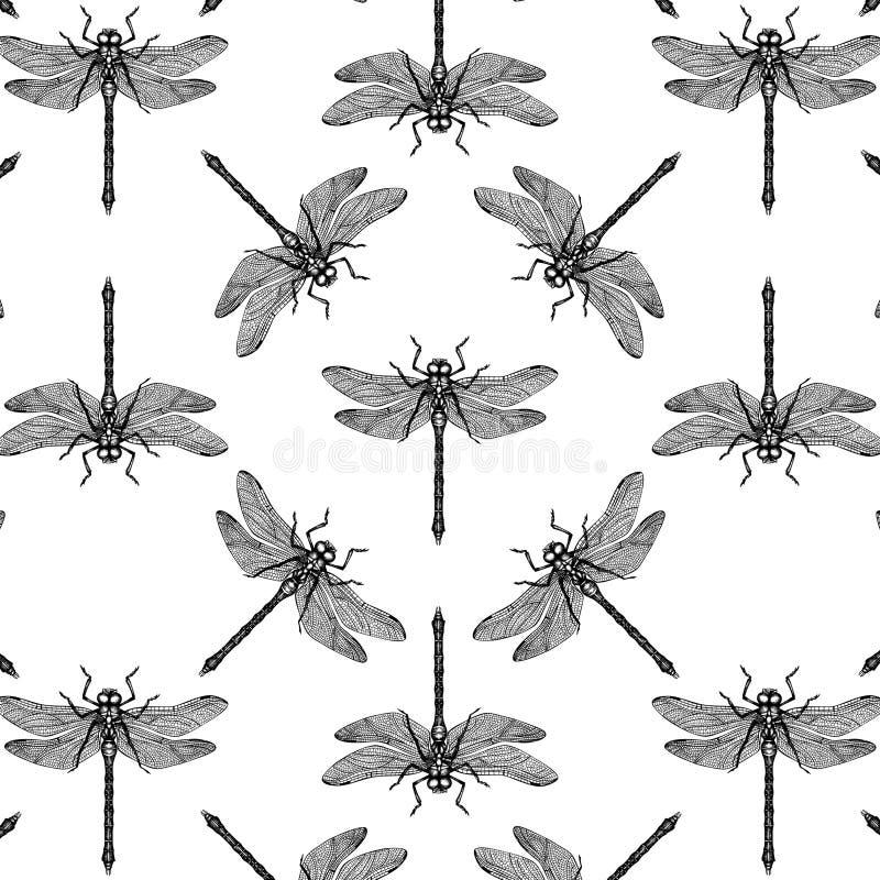 Teste padrão sem emenda com a mão tirada dargonfly Coleção do esboço dos insetos do vetor Fundo da mola de Vinatge Cor pastel col ilustração do vetor