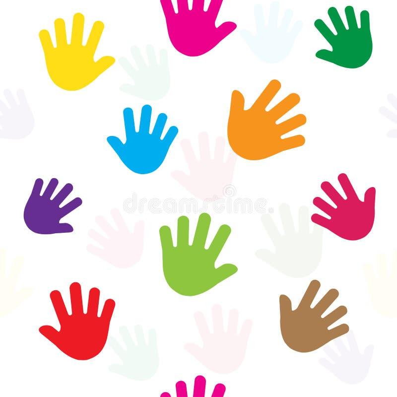 Teste padrão sem emenda com mãos, palmas, silhueta colorida Vetor ilustração do vetor