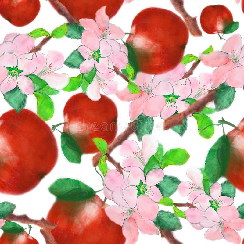 Teste padrão sem emenda com maçãs de caramelo e ramo de árvore da maçã ilustração do vetor