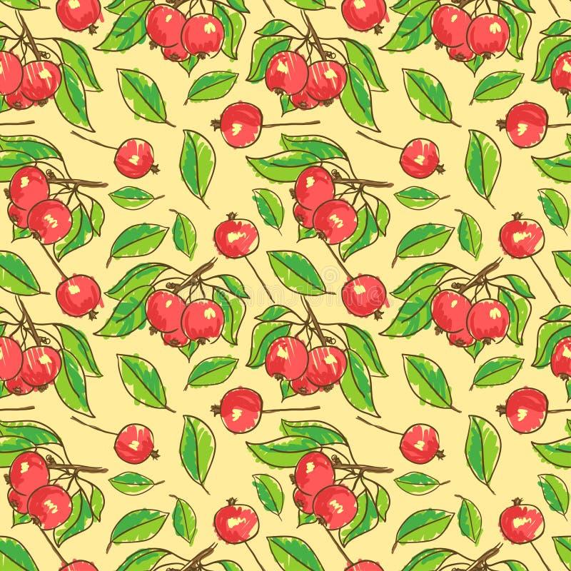 Teste padrão sem emenda com maçãs, ramos e folhas ilustração stock