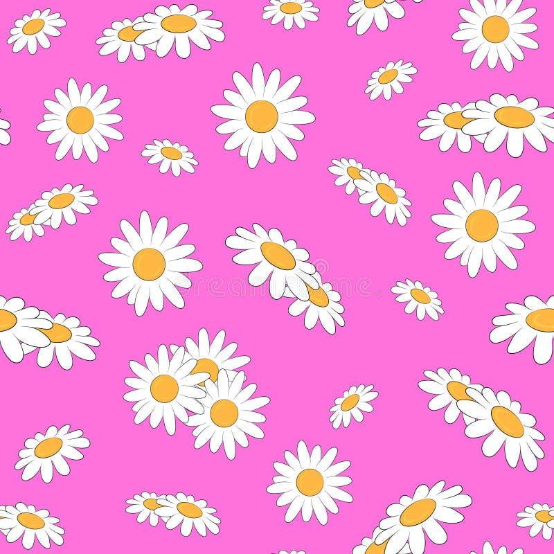 Teste padrão sem emenda com a margarida no fundo cor-de-rosa ilustração stock