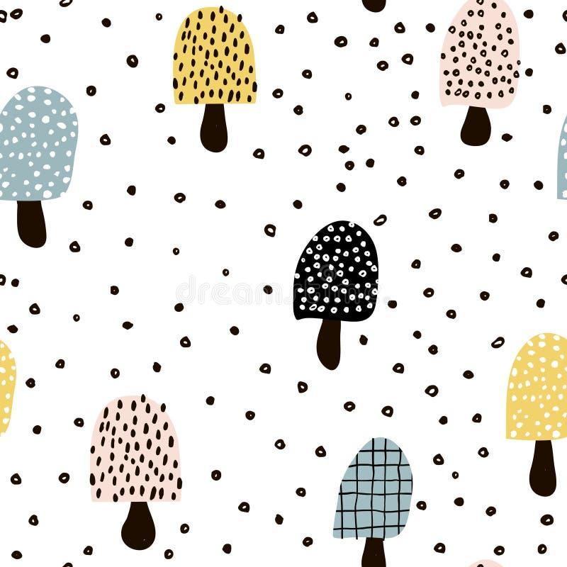 Teste padrão sem emenda com mashrooms abstratos e elementos tirados mão Aperfeiçoe para a tela, matéria têxtil Fundo do vetor ilustração royalty free