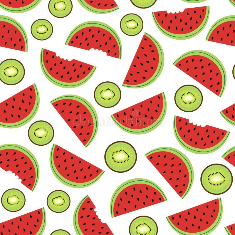 Teste padrão sem emenda com melancia e quivi ilustração royalty free