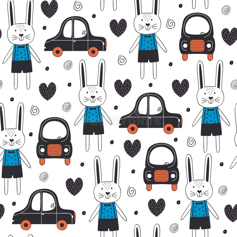 Teste padrão sem emenda com menino e carro do coelho no estilo escandinavo ilustração do vetor